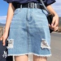summer high waist ripped jeans women fashion slim a line denim skirts black plus size casual all match skirts blue streetwear