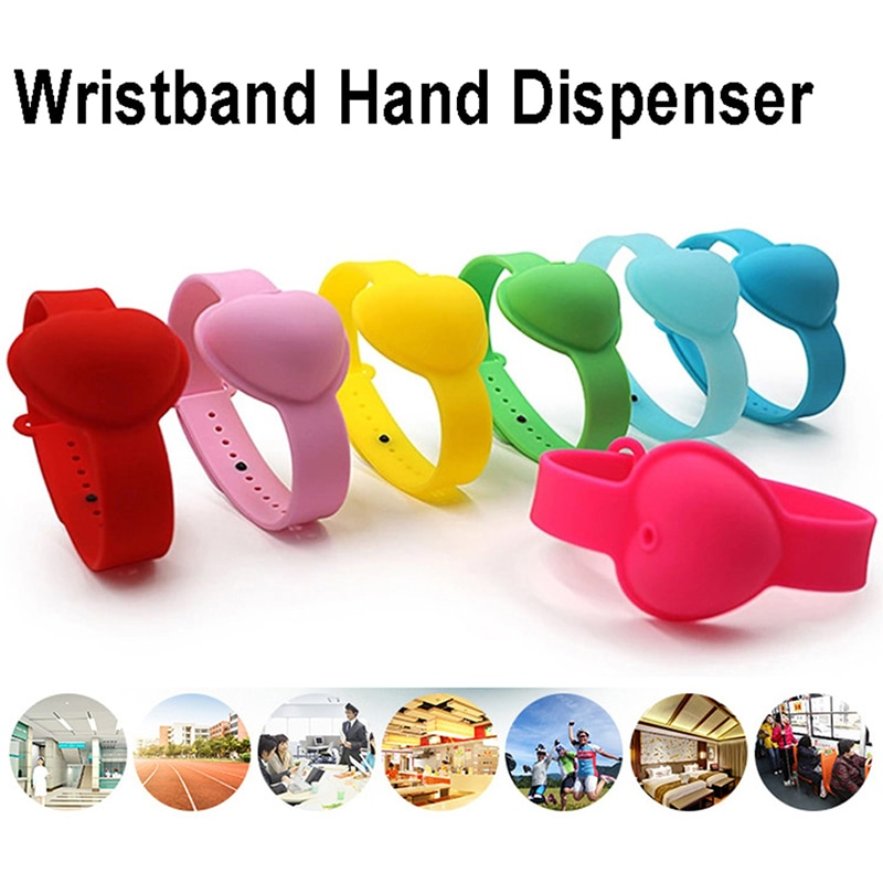 Love Heart Silicone Adjustable Wristband Hand Dispenser Hand Sanitizer Dispenser
