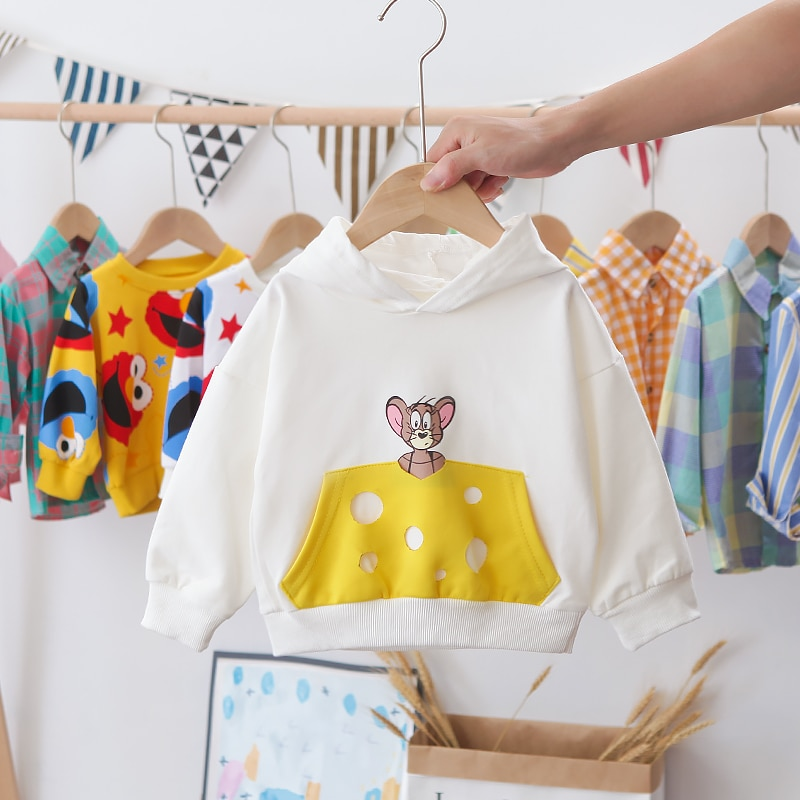 موضة جديدة الفتيان والفتيات سترة القطن الرقبة المستديرة الطباعة بأكمام طويلة ملابس الأطفال