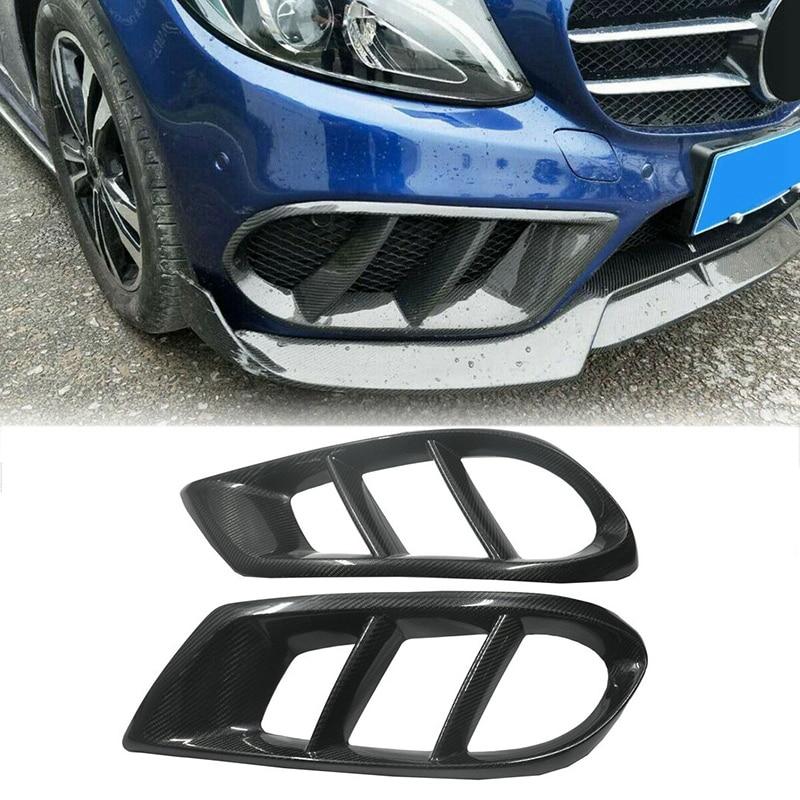 Garniture de couverture dantibrouillard de cadre de gril de pare-chocs avant de Fiber de carbone pour Mercedes Benz W218 CLS260 CLS320 CLS400 2015-2017