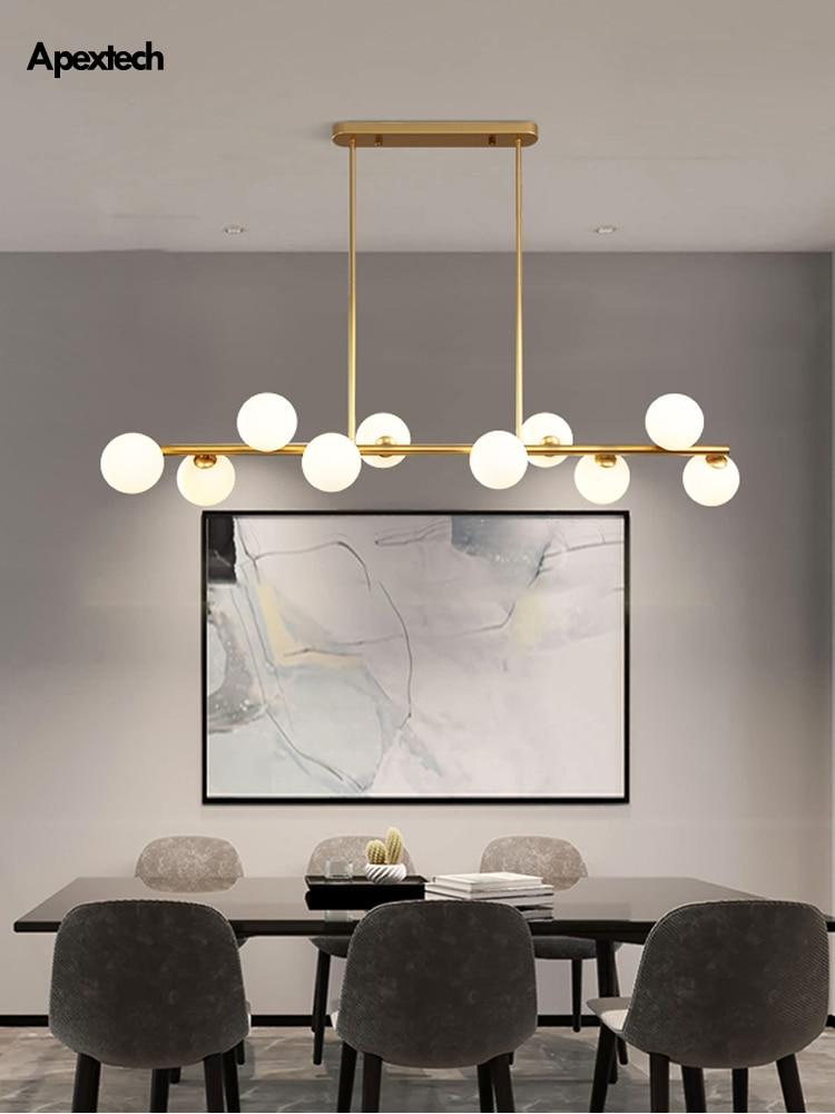 Lámpara colgante de techo para comedor, lámpara colgante Horizontal con bolas de cristal, lámpara colgante para cocina, luces de escritorio delanteras para oficina