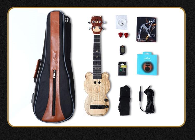 23 Inches Electric Ukulele Wood 4 Strings Silent Mute Ukulele With Carrying Bag enlarge