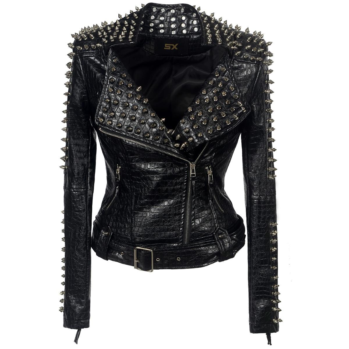 Chaqueta de piel sintética de PU con remaches Punk para mujer, chaqueta de invierno y otoño para motocicleta, abrigo negro, ropa de calle de alta calidad