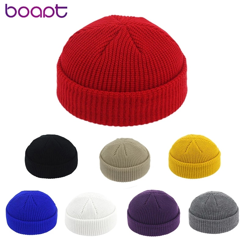 New Unisex Beanie Hat Ribbed Knitted Cuffed Winter Hat Warm Short Beanie Casual Solid Color Skullcap