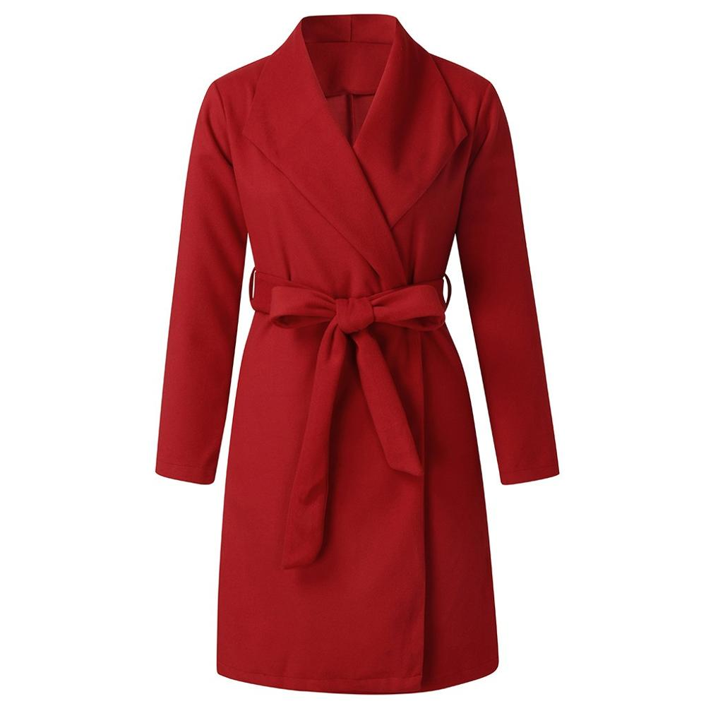 2019 Coat Women Wool Plus Size Autumn Winter Fashion Vintage Elegant Solid Red Lapel Belt Coat Cashmere Woolen Coat Winter