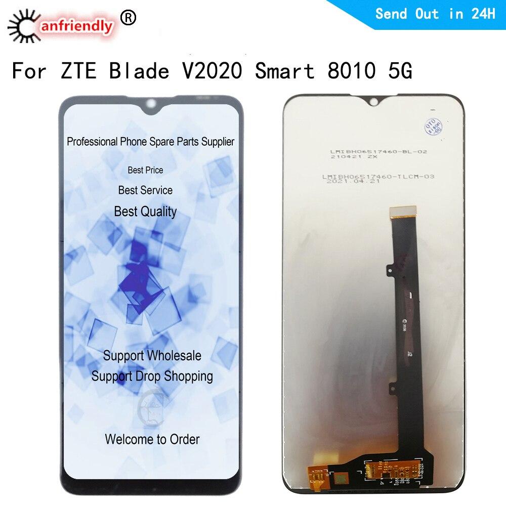 6.82 بوصة V2020 LCD ل ZTE بليد V2020 الذكية 8010 5 جرام شاشة إل سي دي باللمس لوحة شاشة محول الأرقام الاستشعار مع الإطار الجمعية