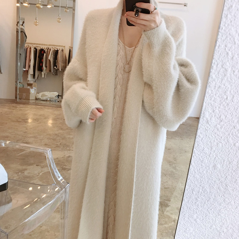 Womens Loose Fit Mid-Length Cardigan Coat Long-Sleeve V Neck Office Lady Solid Color Mink Fur Plus Thick Cardigan Sweater Coat enlarge