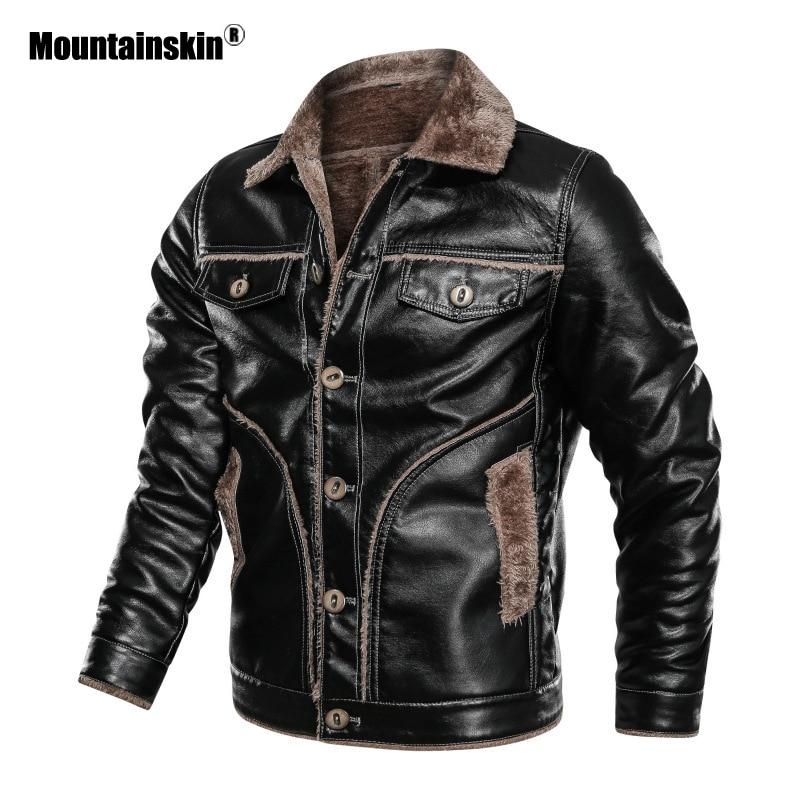 Mountainskin/зимняя мужская Толстая куртка из искусственной кожи, Мужская мотоциклетная кожаная куртка, флисовое теплое кожаное пальто, Мужская ...