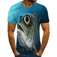 summer new style 3d printing fish pattern mens casual fashion trend boy handsome mens t shirt hip hop short sleeve