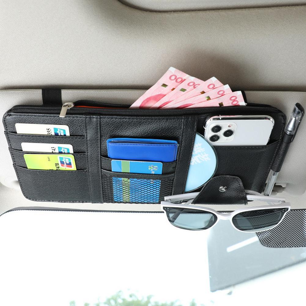 Автомобильный солнцезащитный козырек для хранения Сумка Многофункциональная дорожная сумка кожа Зонт Автомобильный держатель для карт ру...