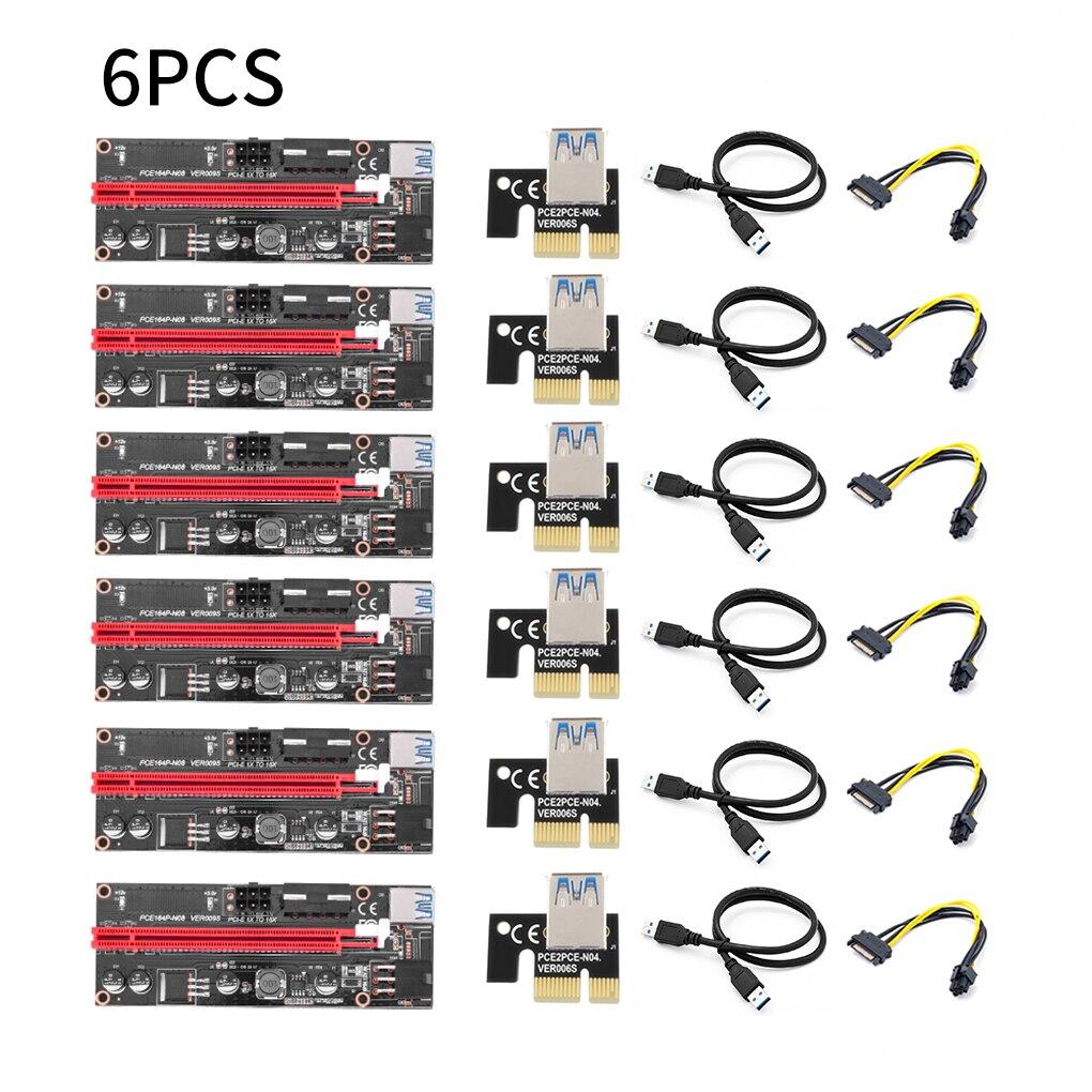 جديد وصول PCI-E الناهض 6 قطعة/الحزمة USB 3.0 Pci-E الناهض فير 009S صريحة 1X إلى 16X موسع الناهض محول 15 إلى 6 دبوس كابل الطاقة