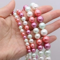high quality beads stylish round mixed color shell beaded for women jewelry making diy bracelets necklace accessories