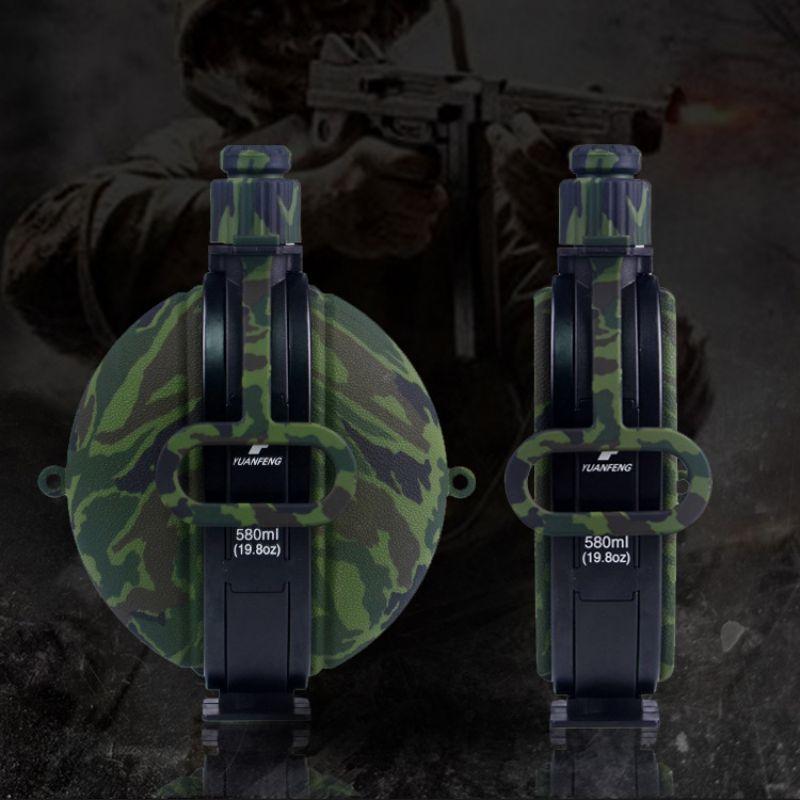 Botella de agua para caminar de gran capacidad para acampar al aire libre, botellas plegables portátiles de silicona para beber con mosquetón de brújula SF