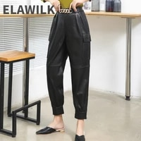 new arrival fashion womens real leather cargo pants autumn winter genuine leather casual pants c638