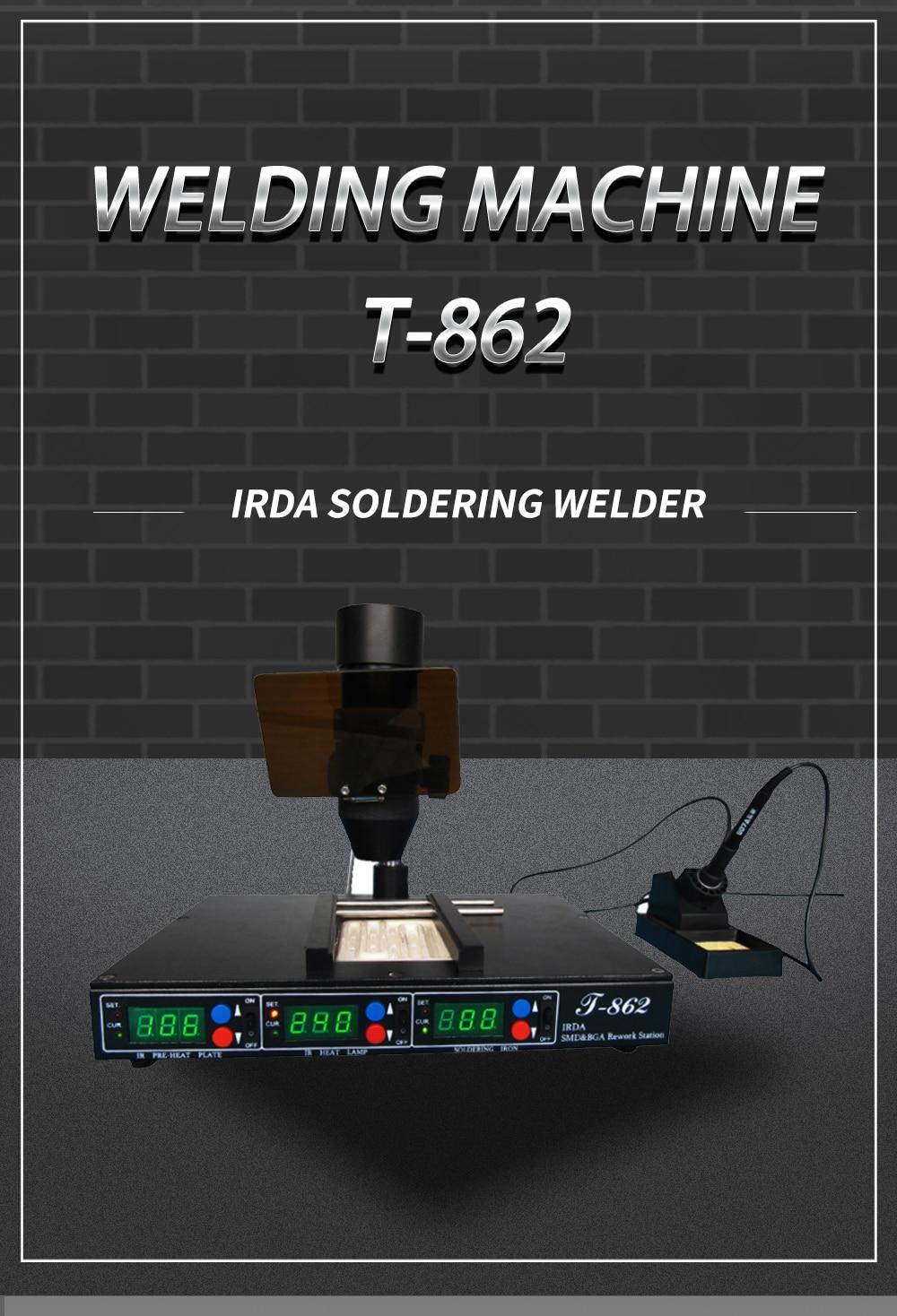 Infrared Rework Reflow Soldering Station BGA SMD SMT desoldering Rework Station PUHUI T-862 enlarge