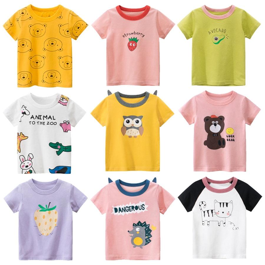 Kids T shirt boy Summer Fashion Children T shirt Short Sleeve girl Cartoon Tops Kids Clothes Cotton Girls Short-Sleeve T-Shirt недорого