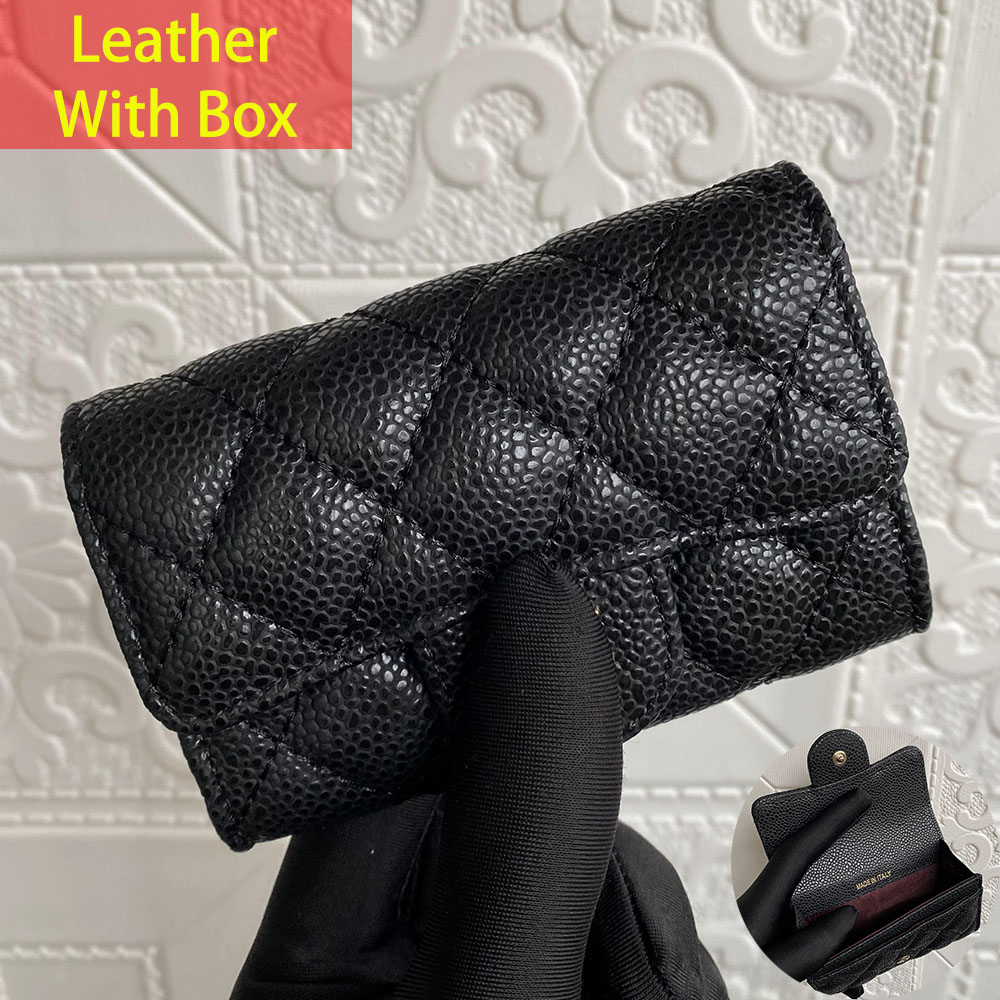 Luxury Fast Delivery High Quality Ball Grain Leather Coin Purse Female Flap Caviar Card Holder Sheepskin Buckle Short Wallet