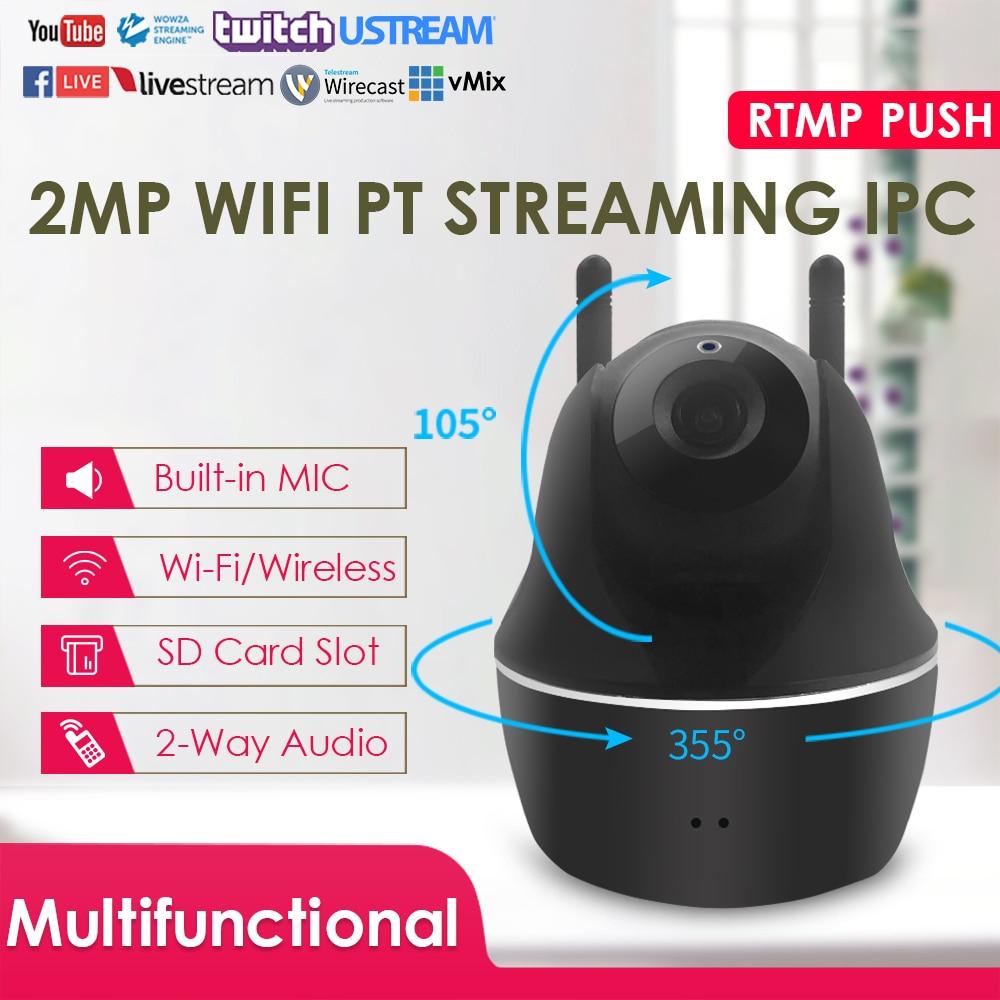 2,0 megapíxeles H.264/H.265 WiFi inalámbrico IR PTZ Live Streaming IP Cámara W/micrófono altavoz empuja la transmisión de vídeo a YouTube/Wowza por RTMP