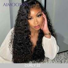 Perruque Lace Frontal Wig 360 naturelle bouclée brésilienne-Aimoonsa   Cheveux Remy, pre-plucked, avec Baby Hair, perruque Lace Front Wig