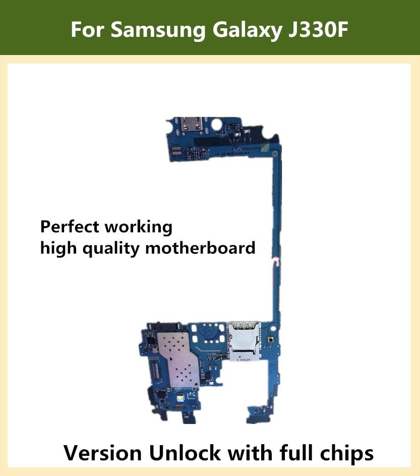 Placa base Original desbloqueada usada para Samsung Galaxy J3 J330F Mainboard con Chips completos tarjeta lógica Android OS