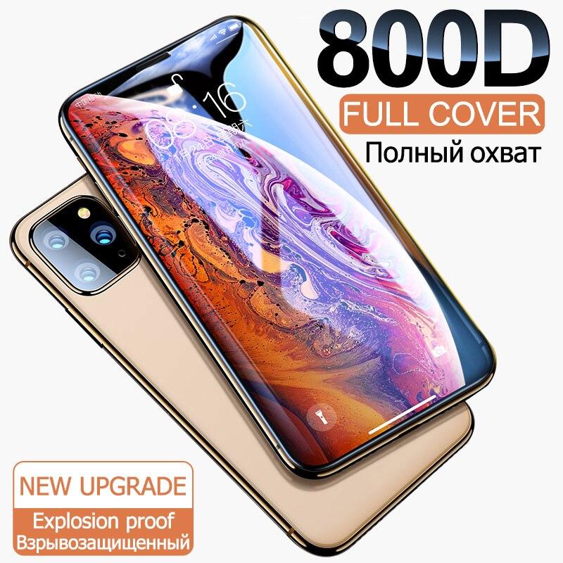 800D полное покрытие закаленное стекло для iphone 11 Pro X XR XS MAX стекло iphone 11 Pro защита экрана защитное стекло на iphone 11