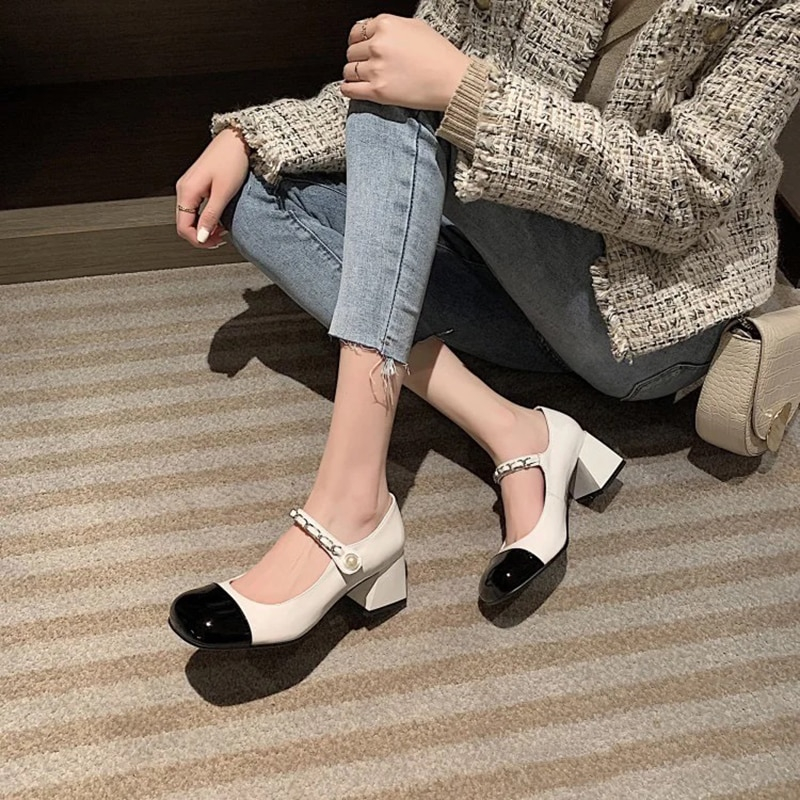 Mary Janes Women's Single Shoes Mixed Colors Casual Buckle Strap Round Toe Square Heel Pearl Chain High Heels Pumps Shoes Woman