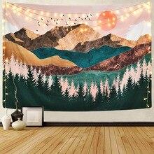 Tapisserie darbre en forêt de montagne   Décoration murale suspendue de paysage, pour chambre à coucher, ad-vente