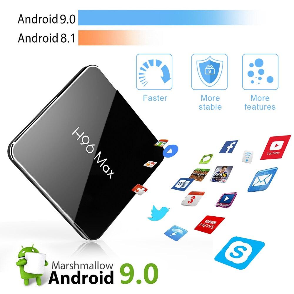 H96 MAX pro TV caja Android 9,0 Amlogic S905X2 4GB RAM 64GB ROM 3D 4K de Netflix, Youtube Streaming Media Player LEMADO caja de TV inteligente