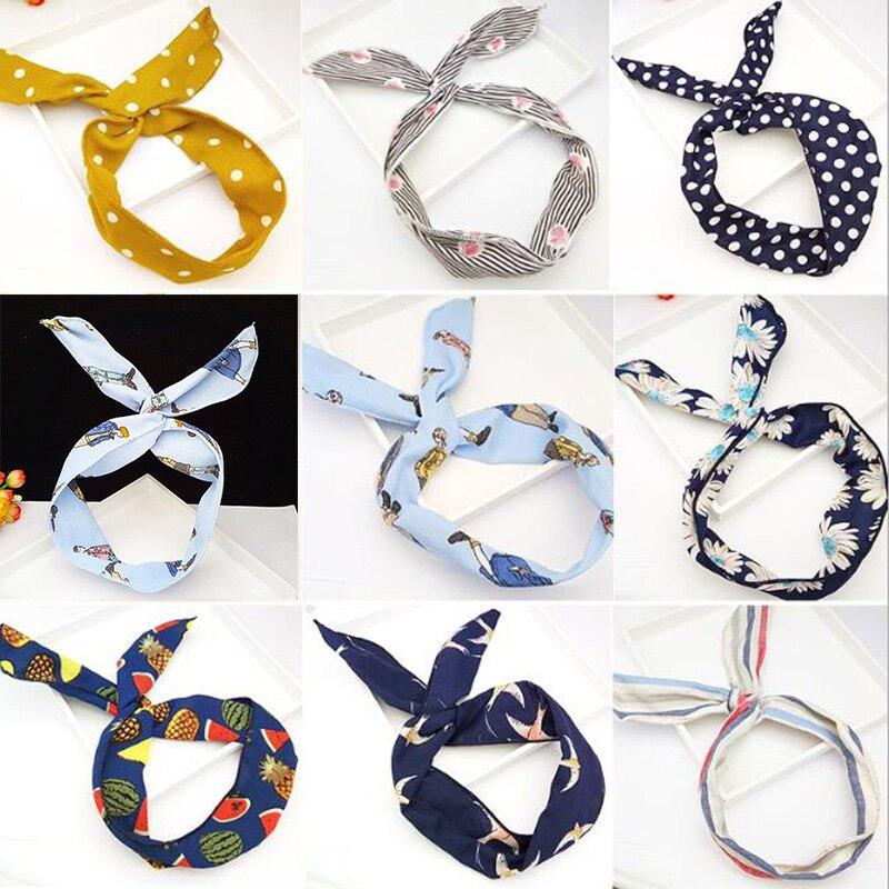 Кроличьи уши с цветочным принтом, лента для волос в стиле Харадзюку, металлическая проволочная лента для шарфа, аксессуары для волос