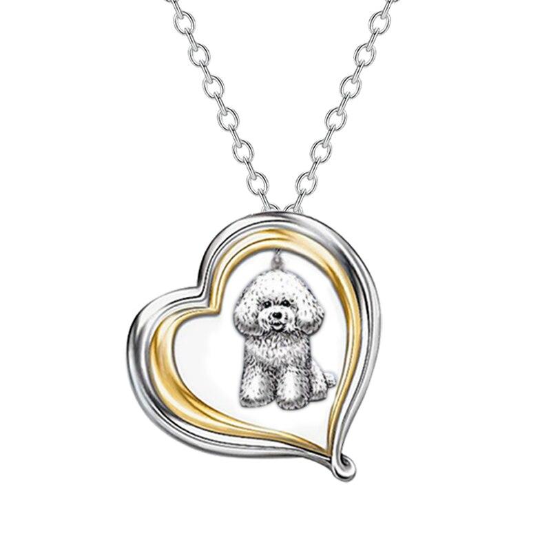 Collar Berbeny con diseño de corazón y perro, collar bonito con cristales de dibujos animados para perros de compañía, colgante de animales para Gargantillas, joyería de fiesta para niños
