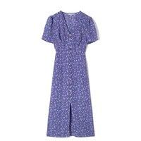 women vintage front button party dress short sleeve v neck casual midi dress 2021 summer fashion new dress vestido de mujer