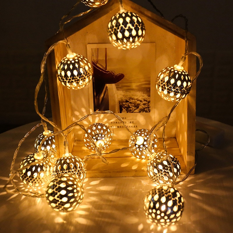 20 LED Moroccan Ball String Lights Battery Operated Holiday Garland Fairy Lights for Home Wedding Christmas Party Outdoor Decors 3m globe led garland starry crystal wishing ball string lights decors for curtains bedroom living room balcony christmas wedding