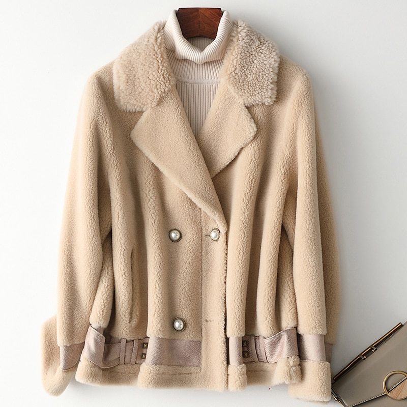 Abrigo de piel Real Mujer Otoño Invierno chaqueta de piel de oveja coreano sólido cálido abrigo de lana abrigadores Mujer Invierno 2020 Ydf902 YY537