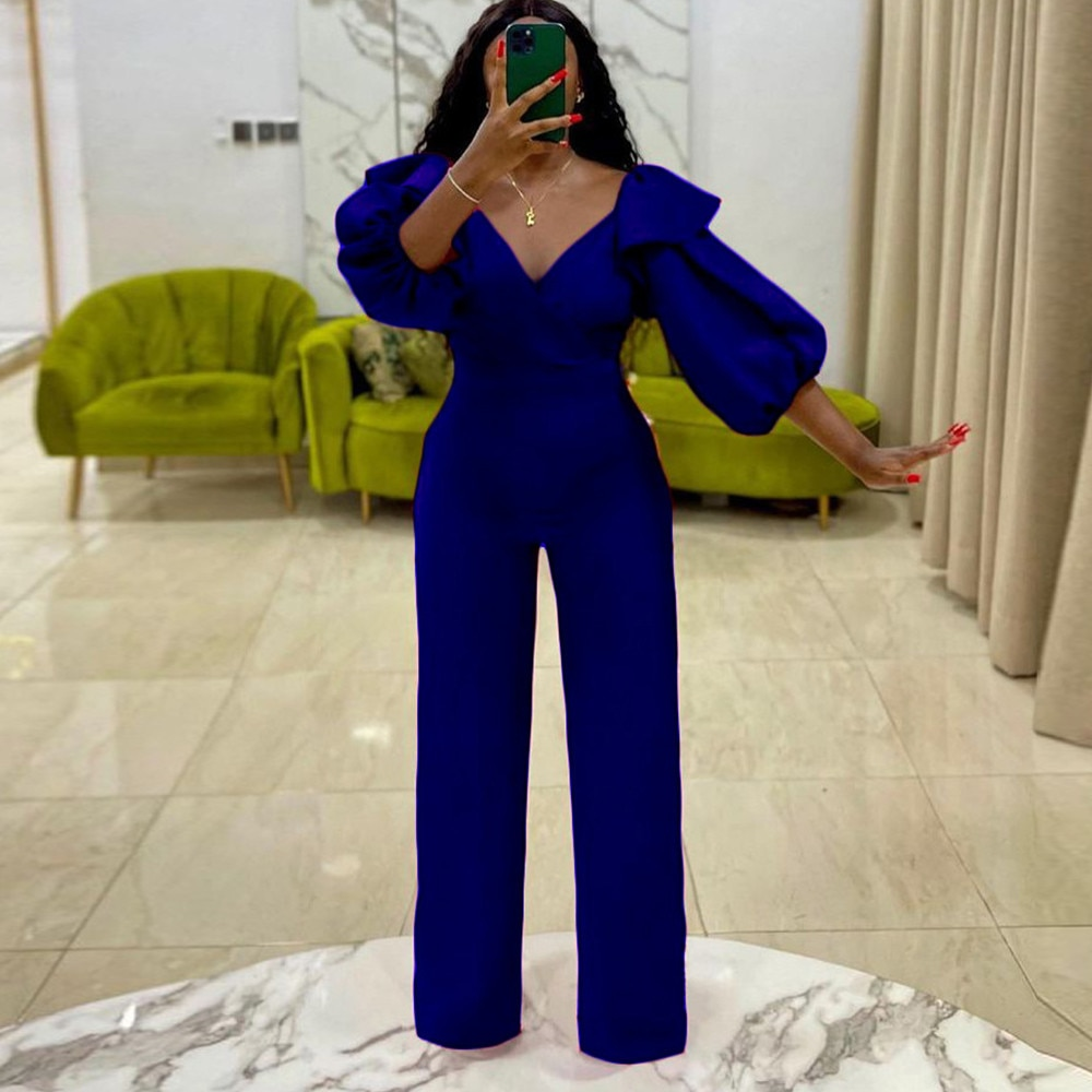 Bulk Items Wholesale Lots Women's Long Jumpsuit Concise Cleavage Puff Sleeve Straight Romper Autumn Solid Mujer Formal Outfit enlarge