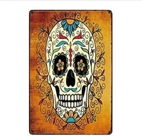 sugar skull mexican style poster funny art decor vintage aluminum retro metal tin sign painting decorative signs
