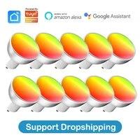 Ampoule GU10 Wifi RGBCW 5W  85-265V  pour Tuya Smart life App  telecommande  automatisation  fonctionne avec Alexa Google Home