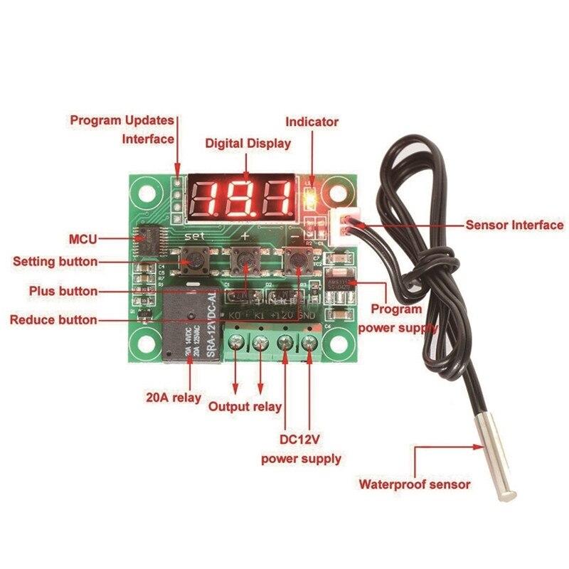 1 шт. W1209 DC 12V Температура отопления охлаждения Термостат Регулятор температуры Переключатель Регулятор температуры термометр термо контроллер