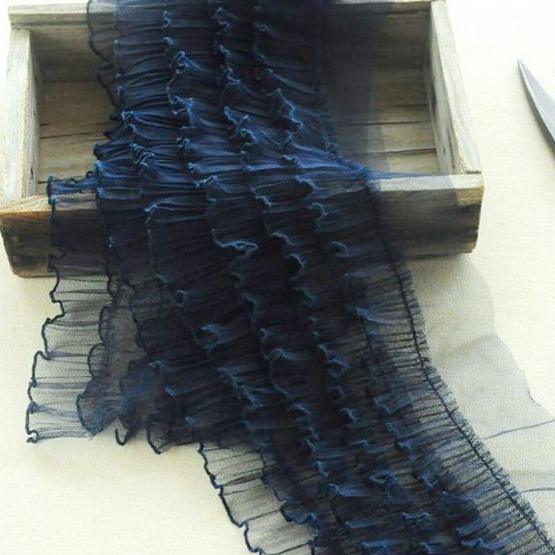 1 yardas plisado de encaje de tul tela cinta de guipur ancho...