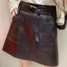 Genuine Leather Skirt Women Natural Real Sheepskin Ladies Mini A-Line Skirt Zipper Pockets Sexy Streetwear Black Plus Size XXXL