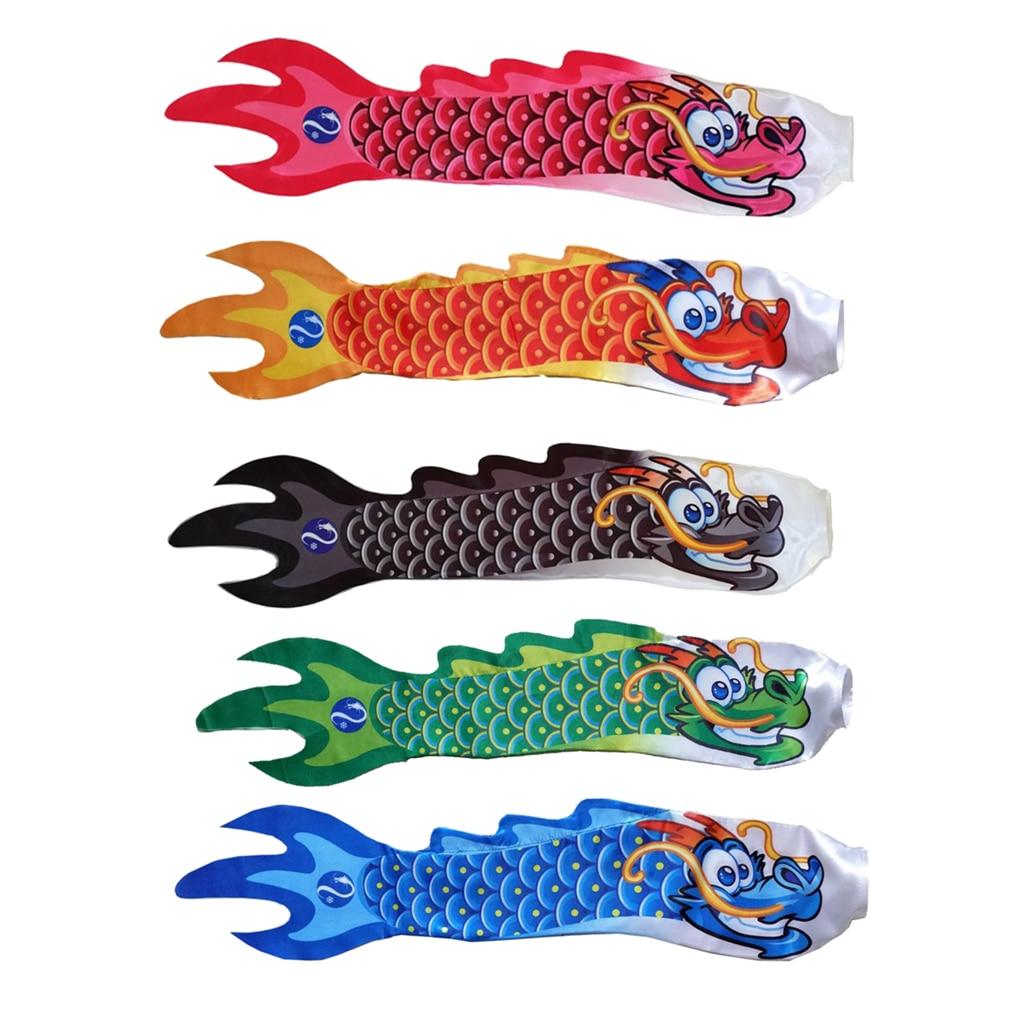 5 Options Outdoor Garden Windsock Flag Spinner Chinese Dragon Carp Streamer Wind Sock Ornament Decor