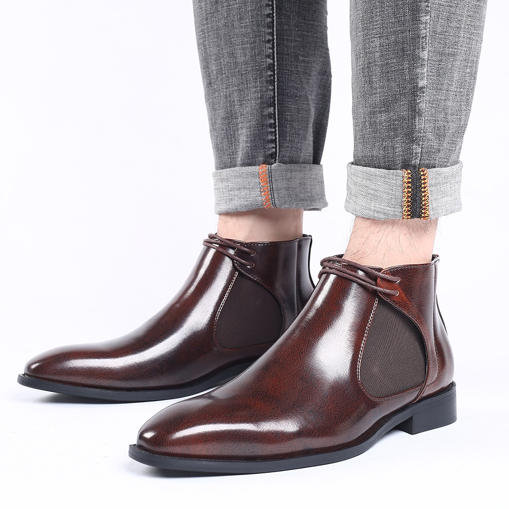2020 Men Boots Fashion Shoes Ankle Boots Vintage High Quality Comfortable Chelsea Boots Mens Slip on Luxury Shoes