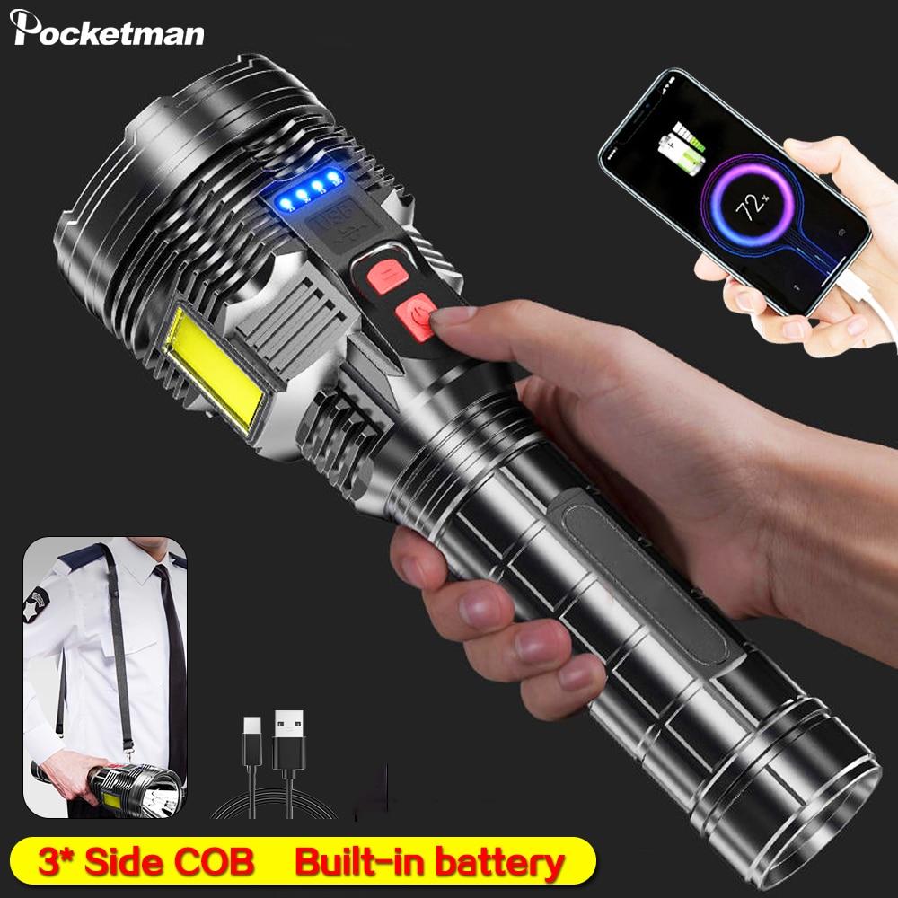 3* COB Side Light LED Flashlight Poratble Patrol Flashlight USB Rechargeable Torch Waterproof Security Flashlight with Strap