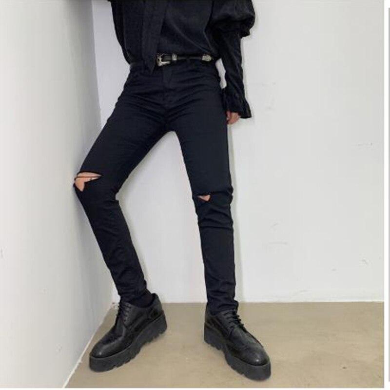 Men Black Slim Fit Hole Ripped Jeans Trousers Male Women Punk Gothic  Fashion Hip Hop Skinny Denim Pencil Pant Mens Pants