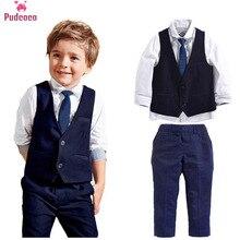 Pudcoco 2019 moda garoto menino 3 pçs conjunto cavalheiro roupas topos camisa lazer conjuntos de roupas formais terno blazers outfits