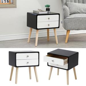 Nordic Simple Bedside Table With 2*Drawer Home Storage Cabinet Solid Wood Nightstands Small Apartment Bedroom Bedside Table HWC