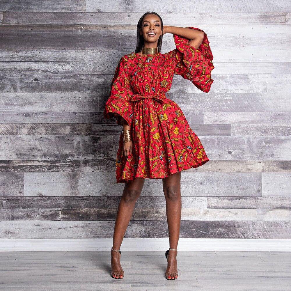 Оптовая продажа 2021, африканская одежда, женское этническое платье с длинным рукавом и принтом, дешево
