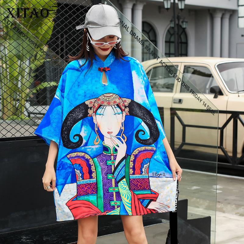XITAO Europe Style Print Loose Plus Size Women Casual Fashion Mandarin Coller The Streets 2020 Summer New Dress Women XJ4298