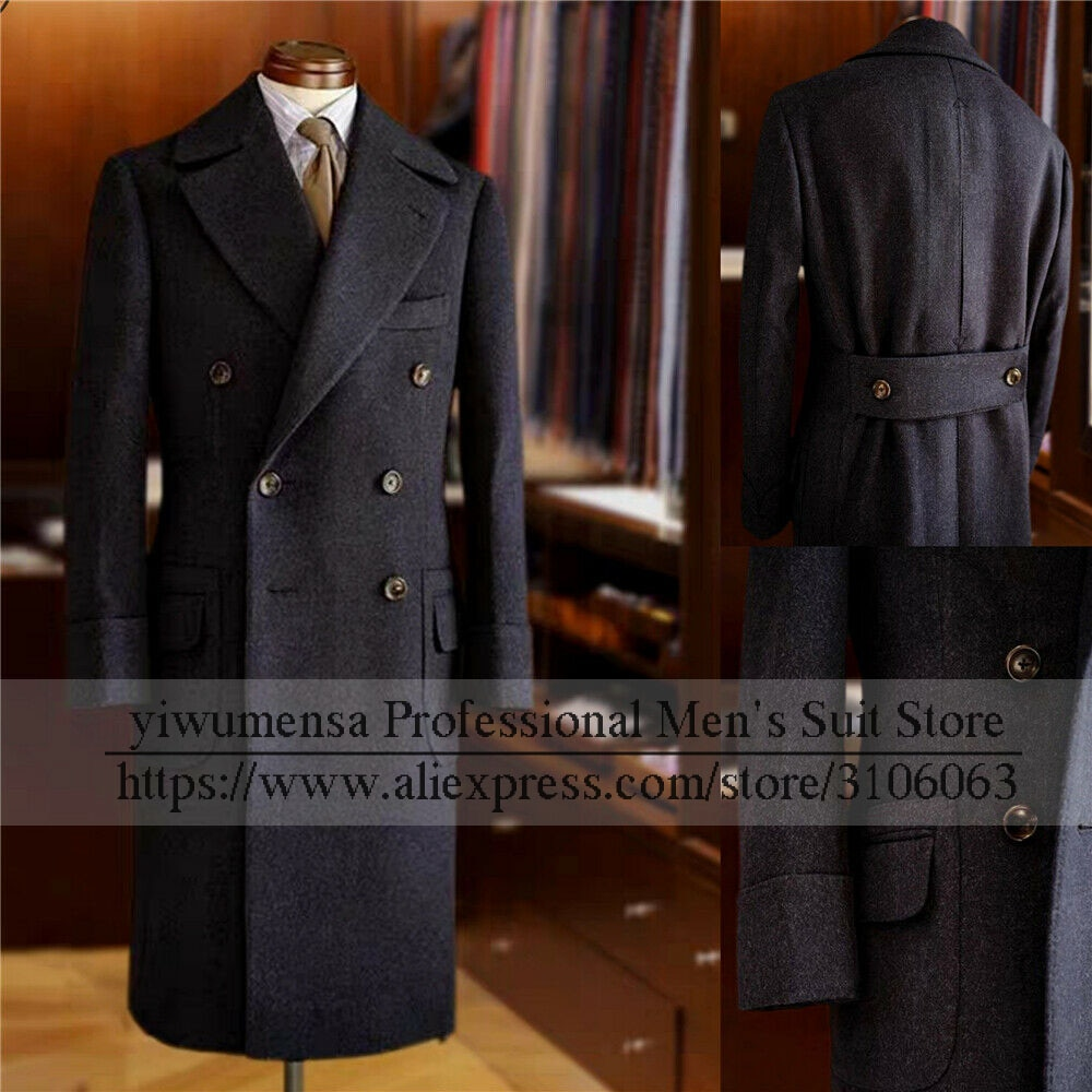 YIWUMENSA Winter Double Breasted Wool & Blends Custom Made Tweed Wollen Suits For Wedding Formal Bla