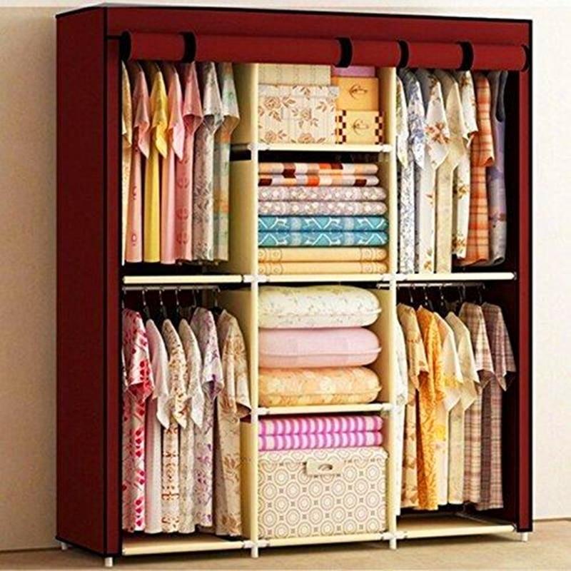 Gran espacio de almacenamiento portátil doble armario para ropa armario estable Ss acero Modular
