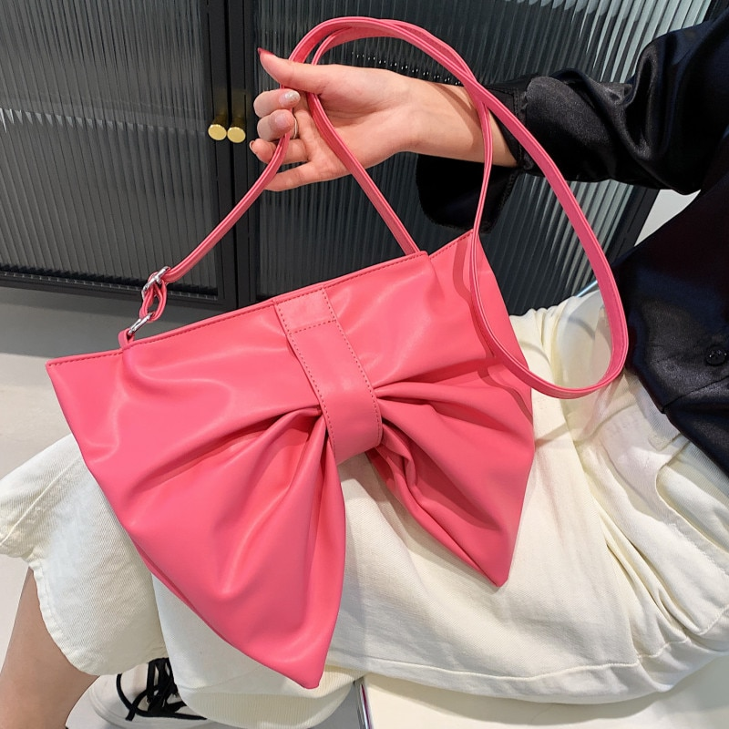 Big Size Pink Shoulder Bags for Women Luxury Leather Crossbody Bag Large Capacity Handbags Ladies Summer Bow-knot Messenger Bag